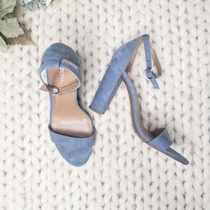 Merona Blue Suede Heel Sandals Size 8